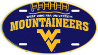 West Virginia University Mountaineers Embossed Metal Oval License Plate