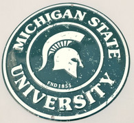 Michigan State University Embossed Metal Circular Sign
