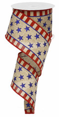 "2.5"" Stars and Stripes Border Ribbon Faux Burlap - 10Yds"
