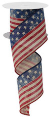 "2.5"" Antiqued Stars and Stripes Flag Ribbon - 10Yds"
