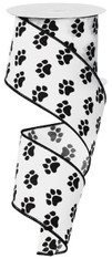 "Paw Print Ribbon: White/Black - Satin Wired - 2.5"" X 10Yds"
