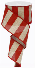 "2.5"" x 10yd Wide Stripe Ribbon: Red/Beige"