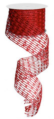 "Jute Mesh Stretchable Wired Ribbon: Red - 2.5"" X 10Yds"