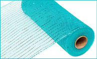 "10"" Deco Poly  Mesh: Metallic Dark Turquoise with Turquoise Foil"