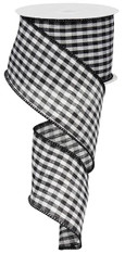 "Black and White Gingham Check Ribbon - 2.5"" X 10Yds"
