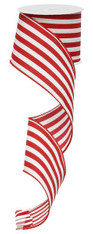 "2.5"" Vertical Stripe Ribbon: Red/White-10Yds"