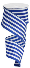 "2.5"" Vertical Stripe Ribbon: Royal/White-10Yds"