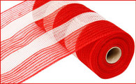"10.5"" Poly/Jute/Cotton Mesh: Wide Red/White Stripe"
