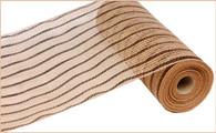 "10.5"" Metallic Poly Jute Mesh: Natural/Chocolate Stripe"