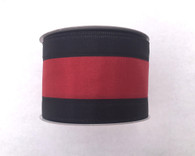 "2.5"" Black/Burgundy Stripe Ribbon - 10Yds"