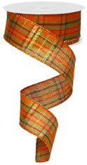"Metallic Orange/Moss/Burg/Copper/Lime Fall Plaid Ribbon - 1.5"" X 10Yds"