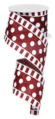 "Dot and Stripe Satin Ribbon: Maroon/White - 2.5"" x 10Yds"