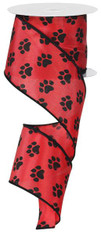 "Paw Print Ribbon: Red/Black - Satin Wired - 2.5"" X 10Yds"