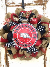 University of Arkansas Razorback Burlap Wreath