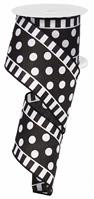 "Dot and Stripe Satin Ribbon: White/Black - 2.5"" x 10Yds"