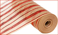 "10.5"" Poly Jute Mesh: Natural/Metallic Red Stripe"