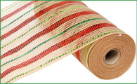 "10.5"" Poly Jute Mesh: Natural/Metallic Red/Emerald/Lime Green Stripe"