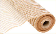 "21"" Poly Jute (Cotton) Mesh: Natural/White Stripe"