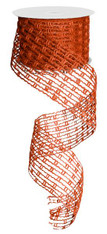 "Jute Mesh Stretchable Wired Ribbon: Orange - 2.5"" X 10Yds"
