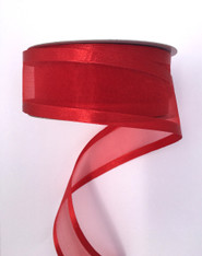 "1.5"" Sheer/Satin Ribbon: Red (25yds)"