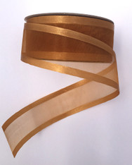 "1.5"" Sheer/Satin Ribbon: Old Gold (25yds)"