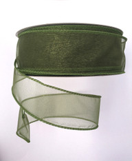 "1.5"" Sheer Wired Ribbon: Moss Green (25yds)"