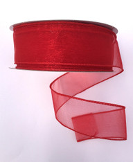 "1.5"" Sheer Wired Ribbon: Red (25yds)"