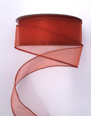 "1.5"" Sheer Wired Ribbon: Rust (25yds)"