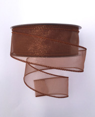 "1.5"" Sheer Wired Ribbon: Copper Brown (25yds)"