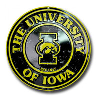 Iowa Hawkeyes Embossed Metal Circular Sign