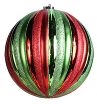 100mm Ball Ornament: Red/Green Vert Stripe