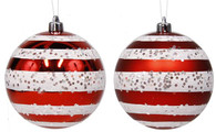100mm Ball Ornament: Red/White Horiz Stripe