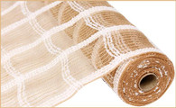 "21"" Poly Jute Mesh: Snowball Drift Plaid (10 Yards)"