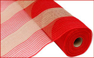 "21"" Poly Jute Mesh: Red/Natural Wide Stripe"