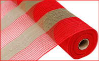 "21"" Poly Jute Mesh: Red/Moss Green Wide Stripe"
