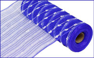 "10.5"" Metallic Snowball Mesh: Royal Blue/White (10 Yards)"
