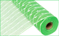 "21"" Metallic Snowball Mesh: Lime Green/White (10 Yards)"