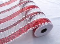 "10"" Snowball Deco Mesh: Red/White Stripe (10 Yards)"