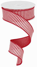 "1.5"" Horizontal Stripe Ribbon: Red/White - 10Yds"