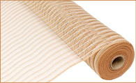 "21"" Poly Faux Jute Mesh: Natural/Cream Stripe"