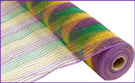 "21"" Tinsel Deco Mesh: Mardi Gras Purple Green Gold"