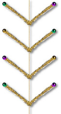 9' Pencil Ball Work Garland: Mardi Gras PGG