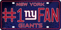 New York Giants #1 Fan NFL Embossed Metal License Plate