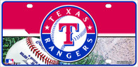 Red/Blue Texas Rangers Metal License Plate Sign