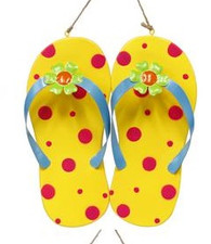 Metal Flip Flop Wall Decor: Yellow