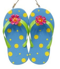 Metal Flip Flop Wall Decor: Blue
