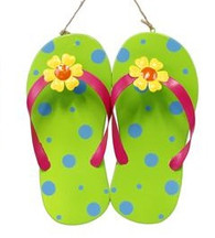 Metal Flip Flop Wall Decor: Green