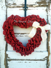 Valentines Burlap Heart Wreath
