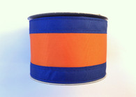 "2.5"" Royal Blue/Orange Stripe Ribbon - 10Yds"