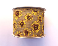 "2.5"" Faux Burlap Sunflower Ribbon - 10Yds"